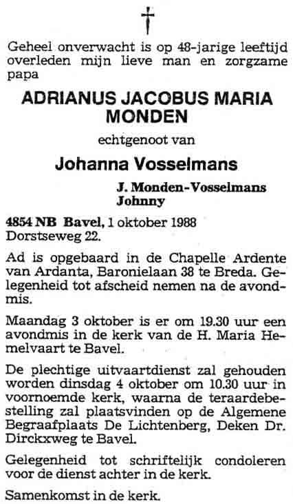 Monden-Adrianus-Jacobus-Maria-Rouwadvertentie