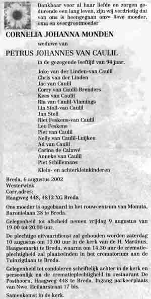 Monden-Cornelia-Johanna-Rouwadvertentie