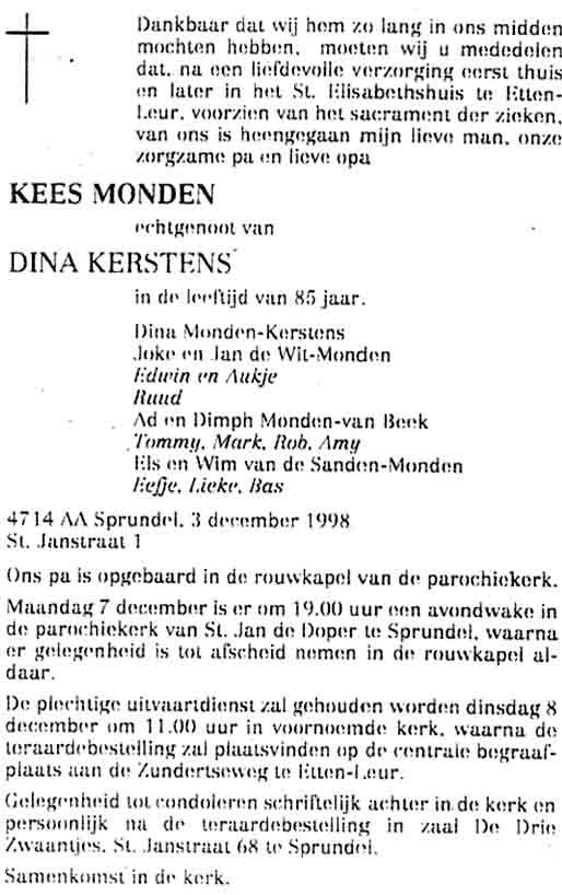 Monden-Cornelis-Martinus-Rouwadvertentie