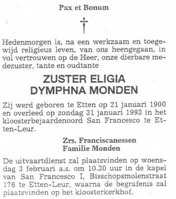 Monden-Eligia-Dymphna-Zuster-Rouwadvertentie