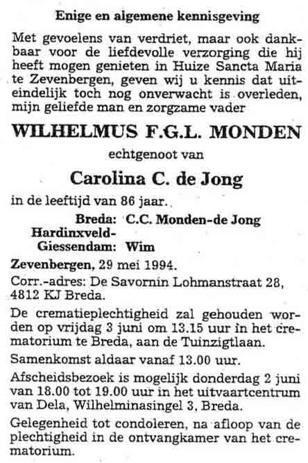 Monden-Wilhelmus-F.G.L.-Rouwadvertentie