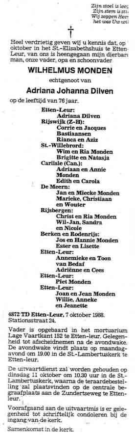 Monden-Wilhelmus-Rouwadvertentie