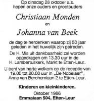 Monden-Christiaan-en-Beek-Johanna-van-Huwelijk-50-jaar