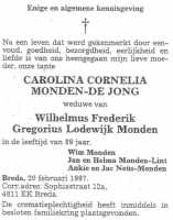 Monden-de-Jong.-Carolina-Cornelia-Rouwadvertentie