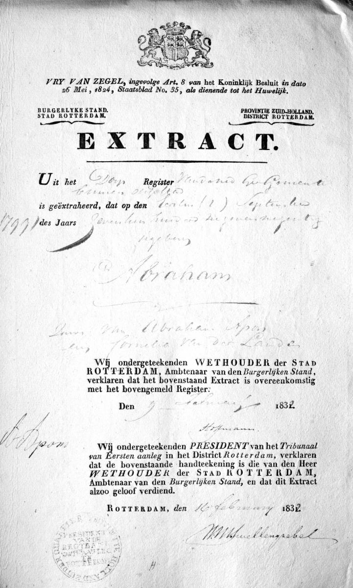 Apon-Abraham-Extract-geboorte-01-09-1799-Rotterdam