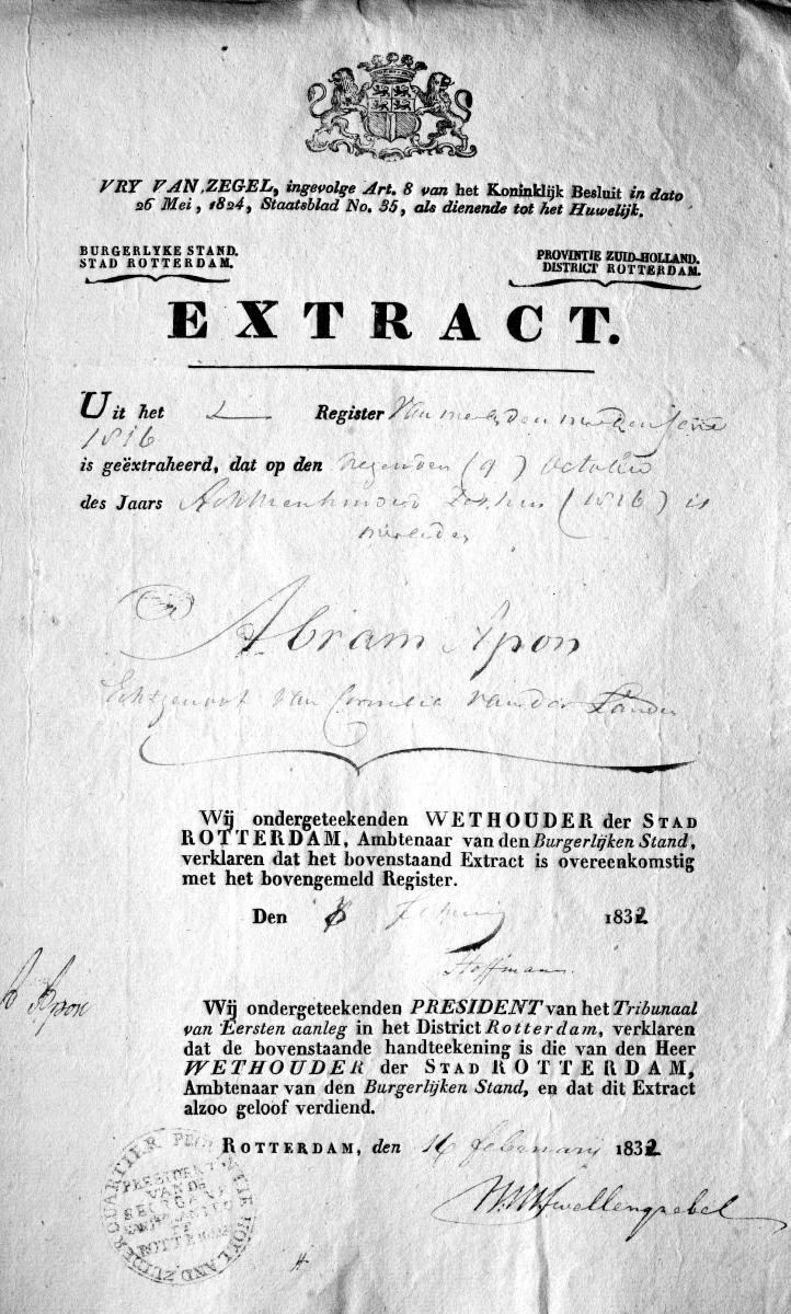 Apon-Abraham-Extract-overlijden-09-10-1816-Rotterdam