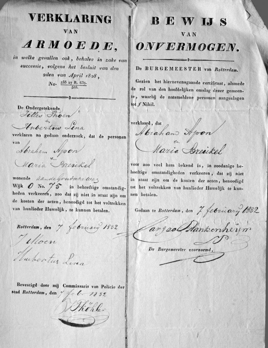 Apon-Abraham-Huwelijk-29-02-1832-Rotterdam-Verklaring-van-armoede