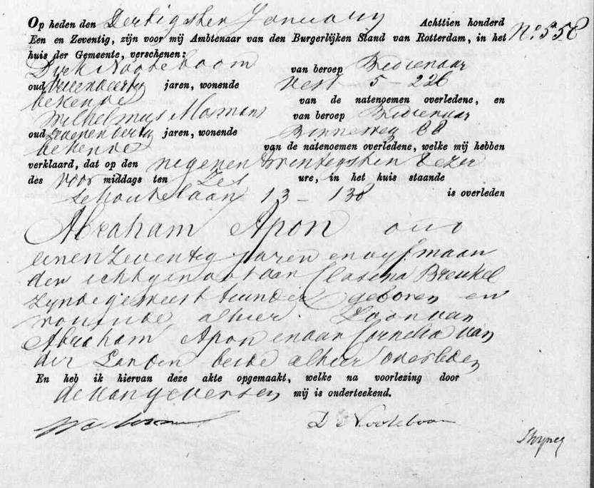Apon-Abraham-Overlijden-29-01-1871-Rotterdam