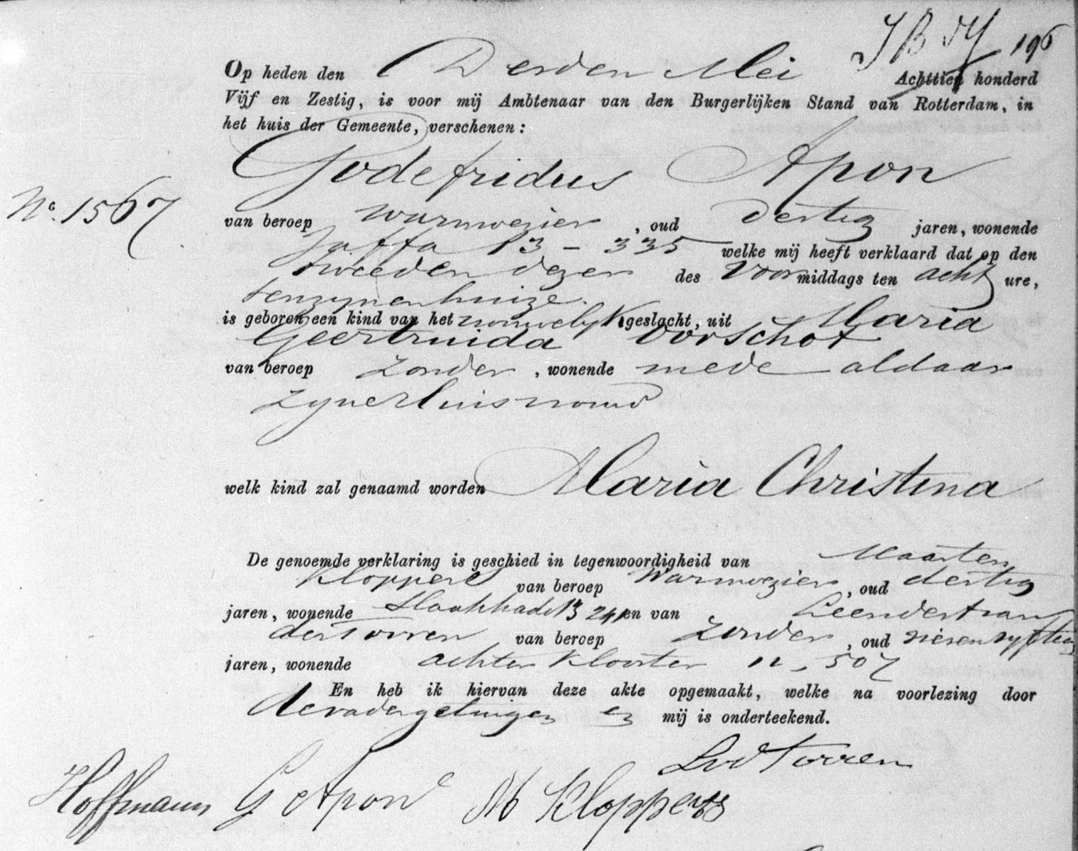 Apon-Maria-Christina-Geboorteakte-02-05-1865-Rotterdam