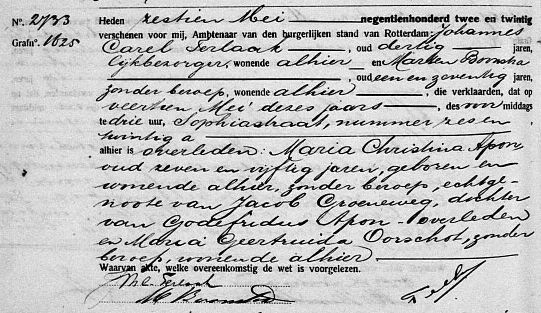 Apon-Maria-Christina-Overlijdensakte-14-05-1922-Rotterdam