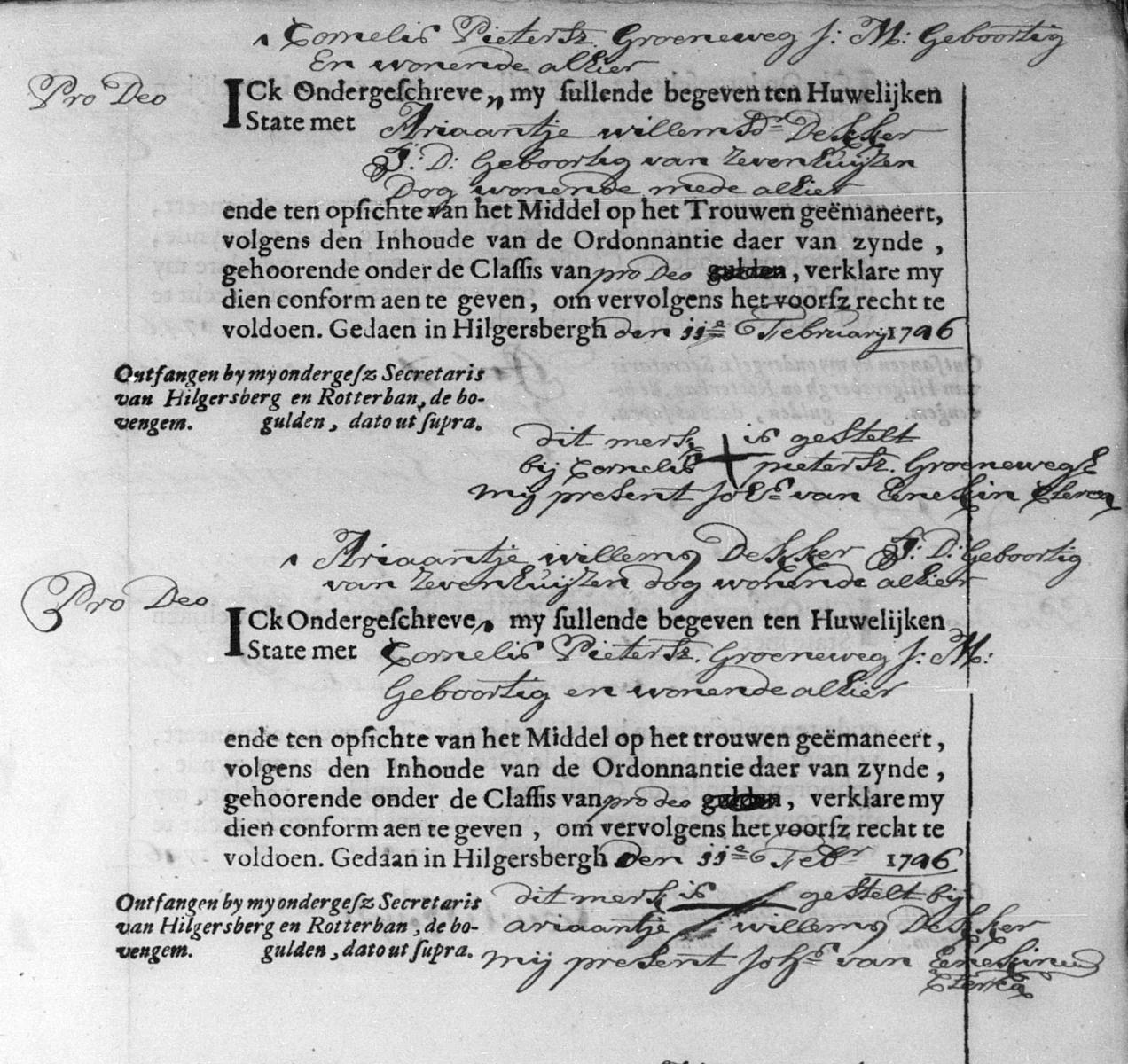 Groeneweg-Cornelis-Pietersz-en-Dekker-Ariaantje-Willems-Huwelijk-27-02-1746-Hillegersberg-