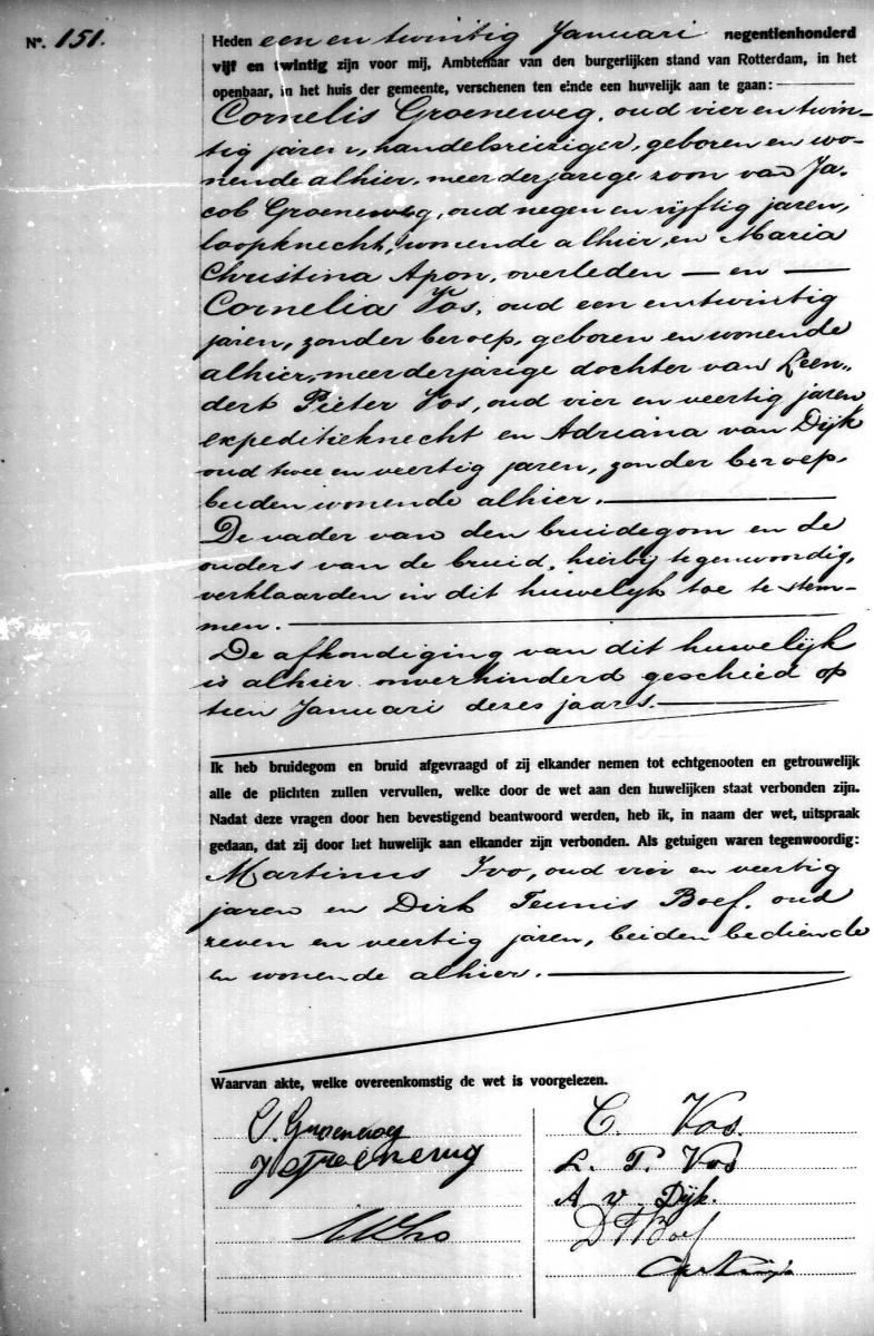Groeneweg-Cornelis-en-Vos-Cornelia-Huwelijksakte-21-01-1925-Rotterdam
