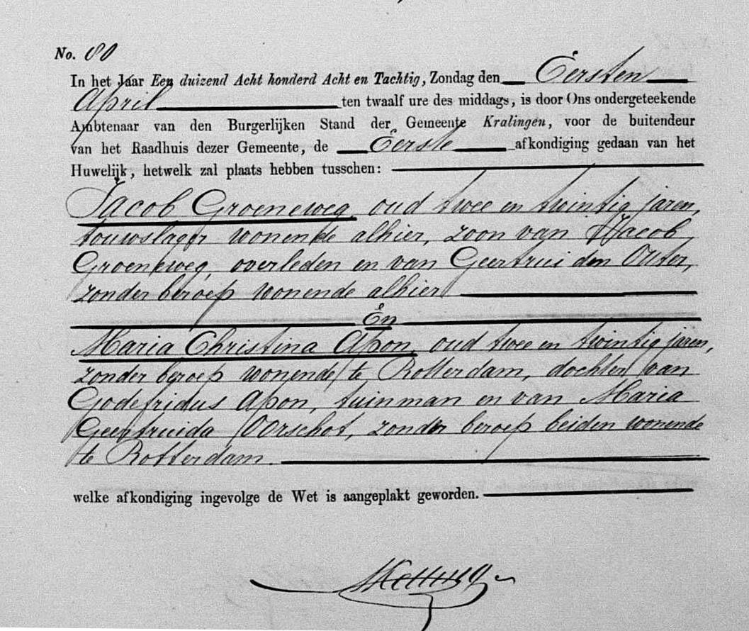 Groeneweg-Jacob-en-Apon-Maria-C.-Huwelijksafkonding-11-04-1888-Kralingen