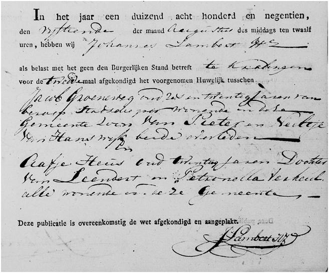 Groeneweg-Jacob-en-Heus-Aafje-Huwelijksafkondiging-18-08-1819-Kralingen