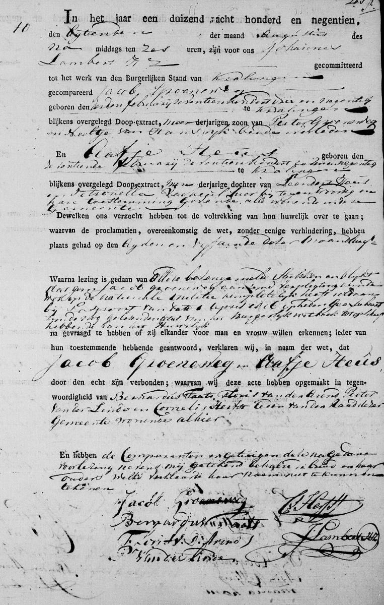 Groeneweg-Jacob-en-Heus-Aafje-Huwelijksakte-18-08-1819-Kralingen