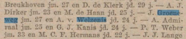 Groeneweg-Jacob-en-Welzenis-Aafje-van-Bericht-van-huwelijksaangifte-10-11-1920-Voorwaarts-11-11-1920