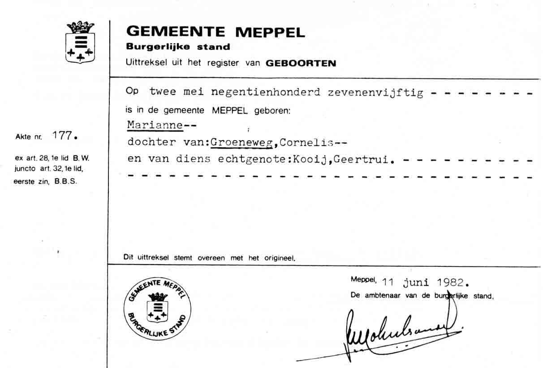 Groeneweg-Marianne-Geboorte-Meppel-02-05-1957