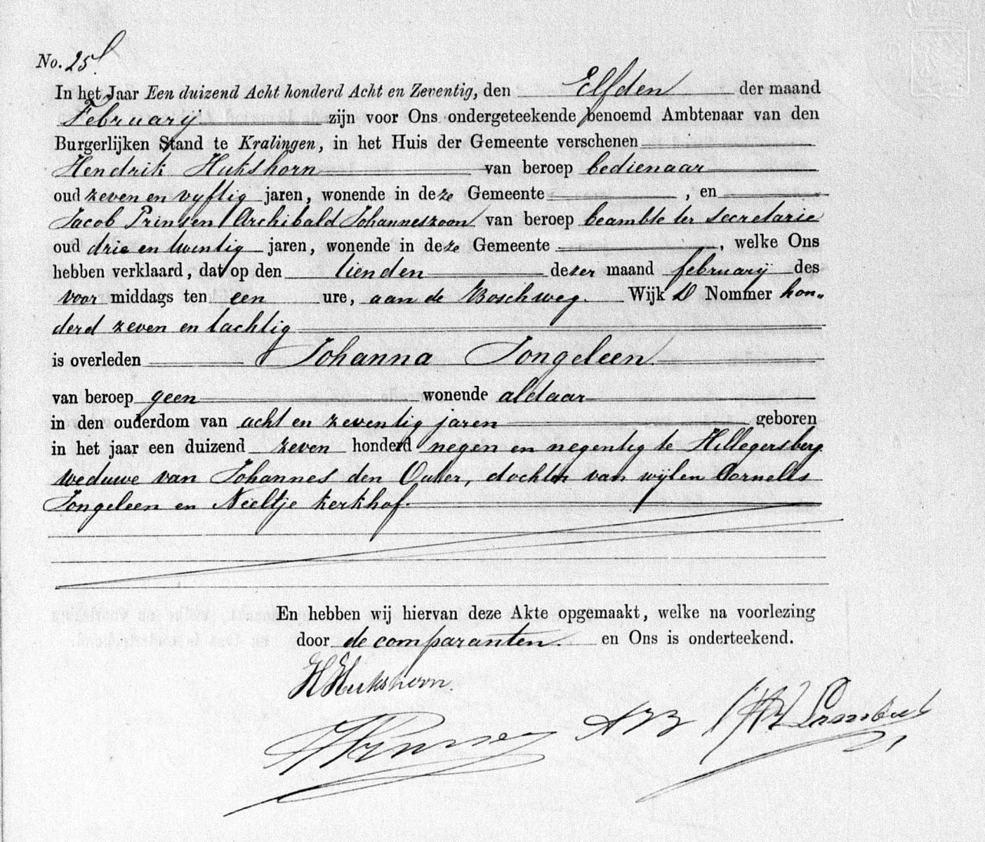 Jongeleen-Johanna-Overlijdensakte-10-02-1878-Kralingen