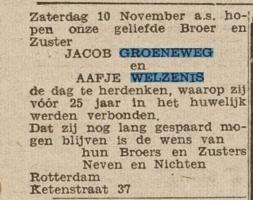 Groeneweg-Jacob-en-Welzenis-Aafje-van-Aankondiging-25-jarig-huwelijk-Het-Vrije-Volk-2-11-1946