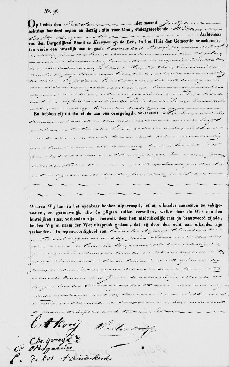 Kooij-Cornelis-en-Erkel-Josina-Trouwakte-06-07-1839-Krimpen-ad-Lek