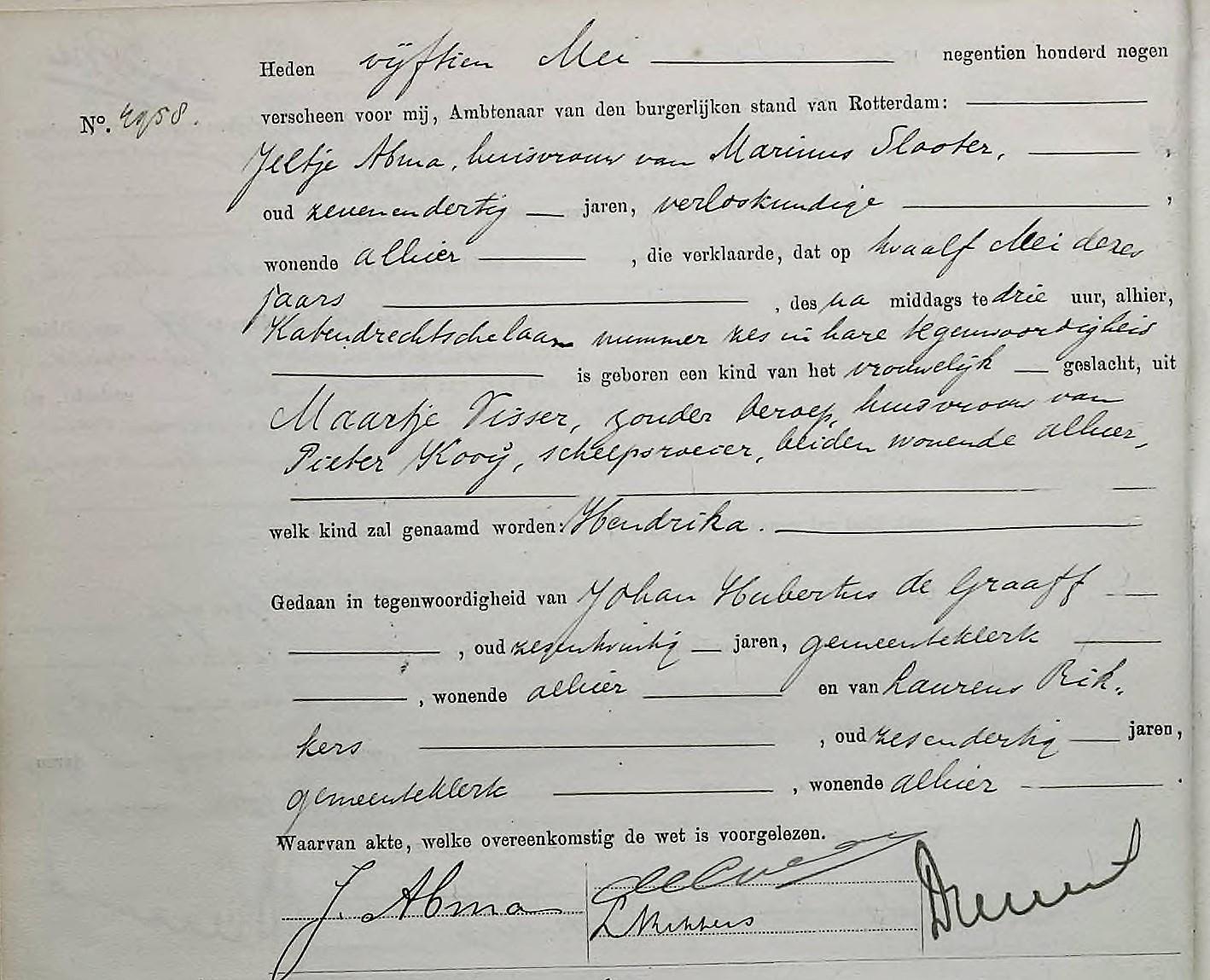 Kooij-Hendrika-geboorteakte-12-05-1909-Rotterdam