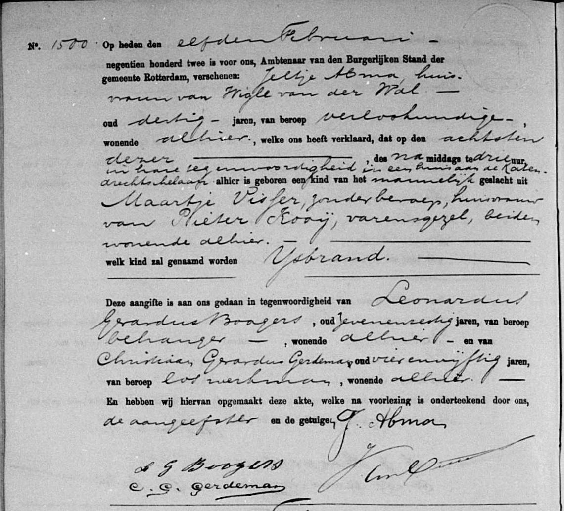 Kooij-IJsbrand-geboorteakte-08-02-1902