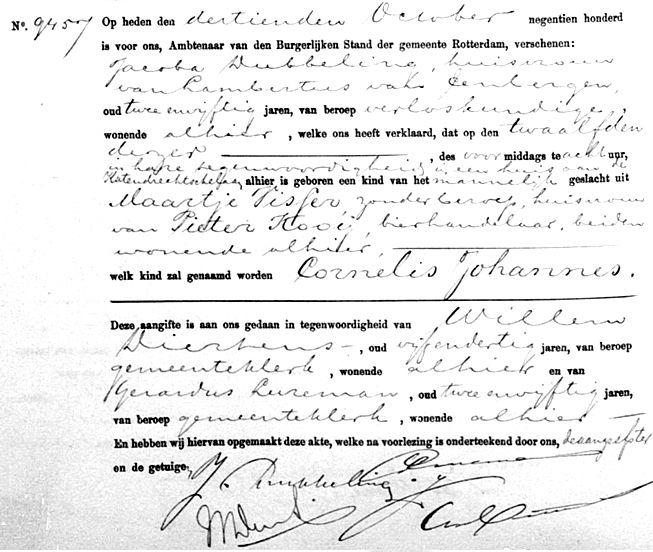 Kooij-Johannes-Cornelis-Geboorteakte-12-10-1900-Rotterdam
