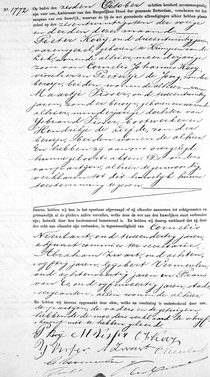 Kooij-Pieter-en-Visser-Maartje-Huwelijksakte-06-10-1897-Rotterdam
