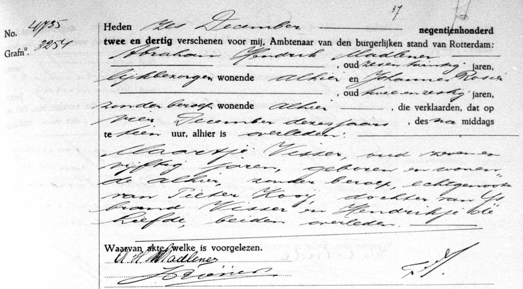 Visser-Maartje-Overlijdensakte-04-12-1932-Rotterdam