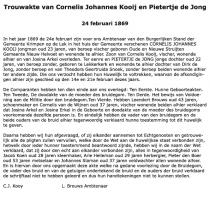 Kooij-Cornelis-J.-en-Jong-Pietertje-de-Trouwakte-24-02-1869-Tekst