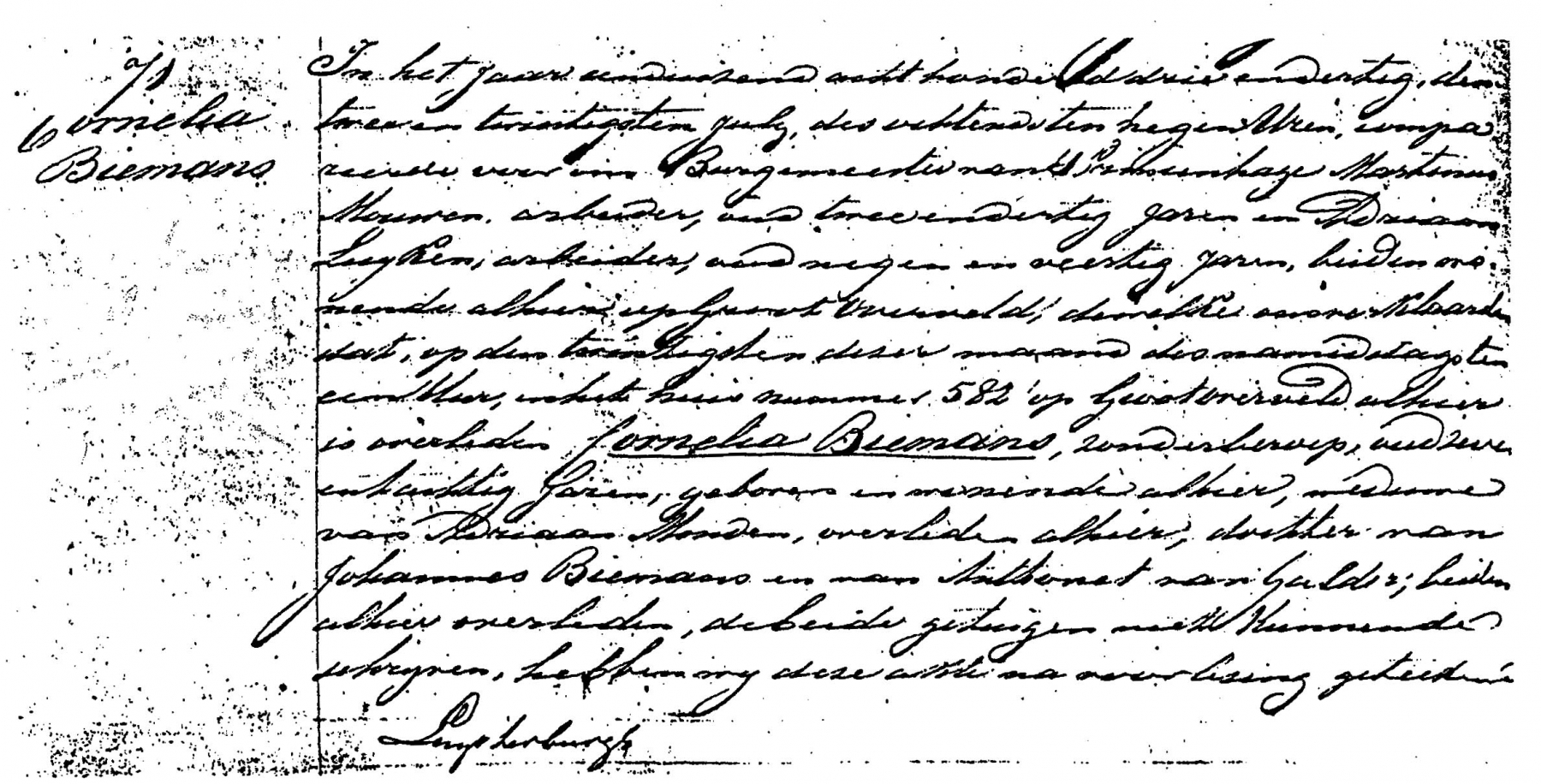 Biemans-Cornelia-Overlijden-20-07-1833-Akte