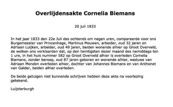 Biemans-Cornelia-Overlijden-20-07-1833-Tekst