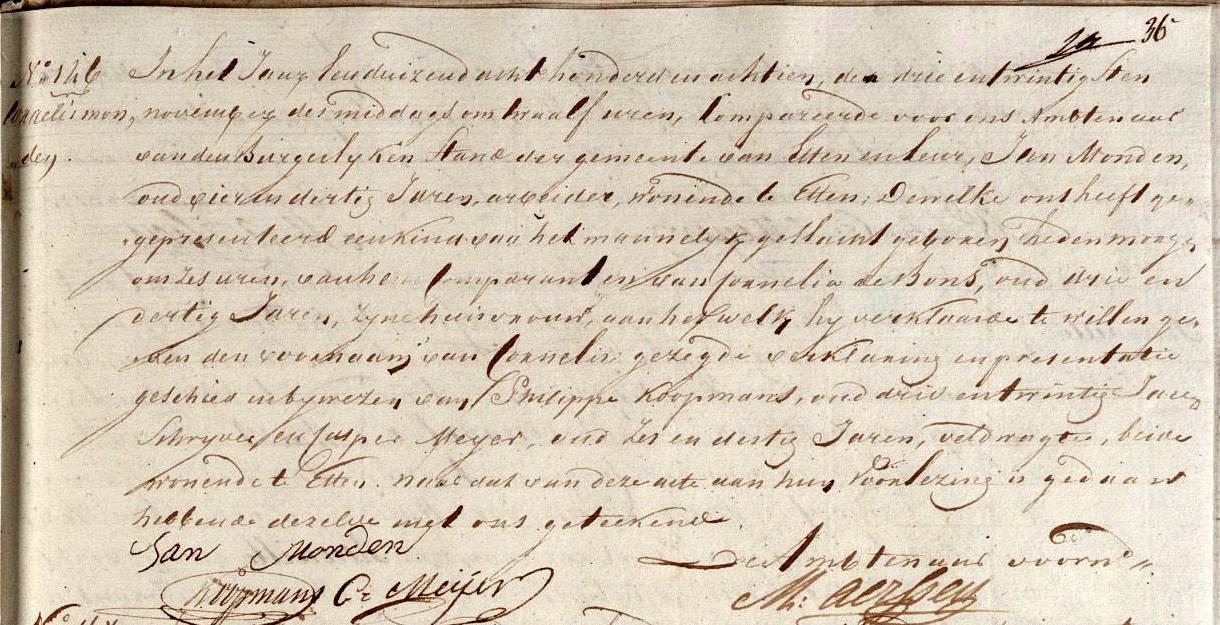 Monden-Cornelis-Geboorteakte-23-11-1818-Etten-Leur