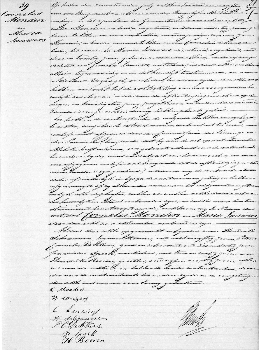 Monden-Cornelis-en-Lauwers-Maria-Huwelijksakte-17-07-1856-Princenhage