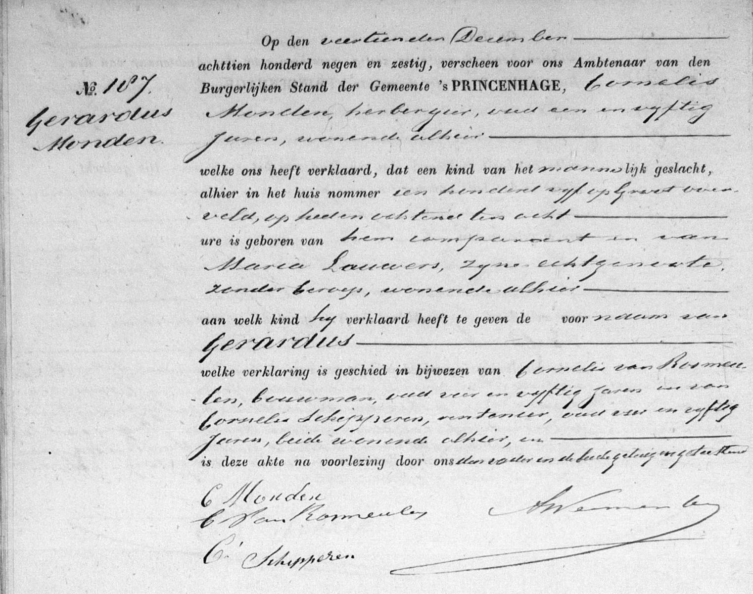 Monden-Gerardus-Geboorte-14-12-1869
