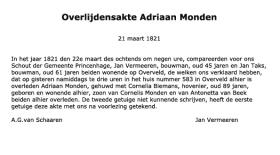 Monden-Adriaan-Overlijden-21-03-1821-Tekst