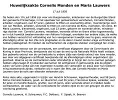 Monden-Cornelis-en-Lauwers-Maria-Huwelijk-17-07-1856-Tekst