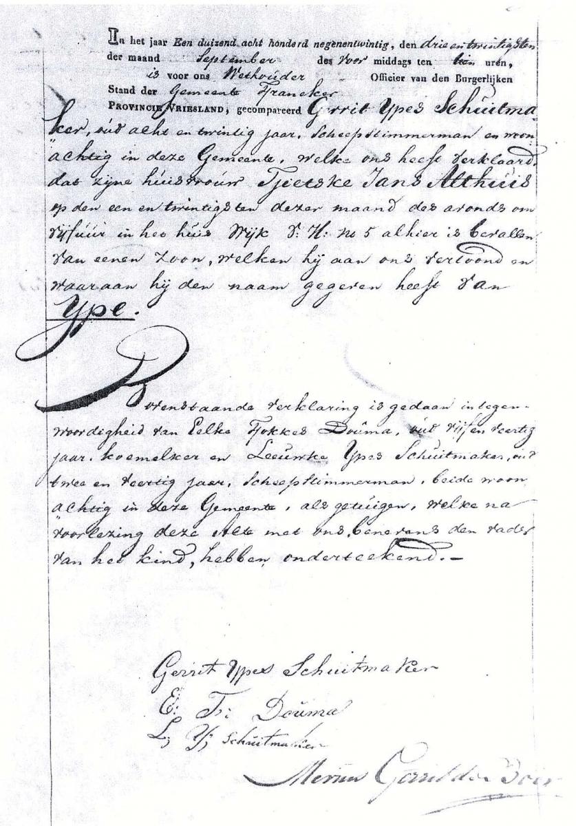 Schuitmaker-Ype-Gerrits-Geboorteake-21-09-1829-Franeker