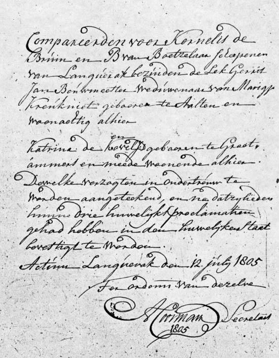 Bouwmeester-Gerrit-Jan-en-Kogel-Kaatje-de-Huwelijksakte-12-07-1805-Langerak