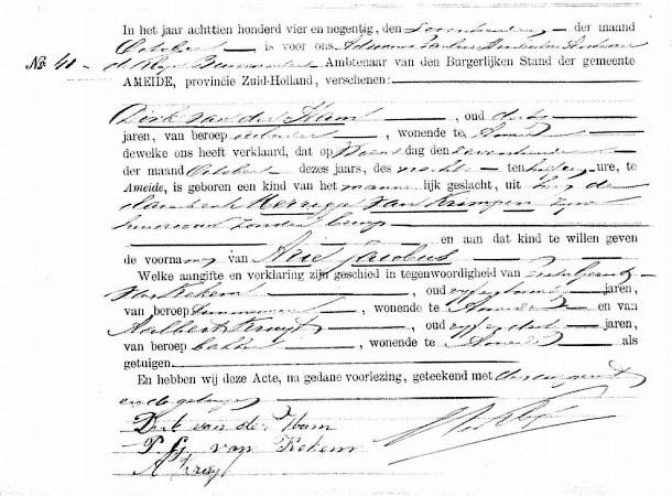 Ham-Arie-Jacobus-v.d.-Geboorteakte-17-10-1894
