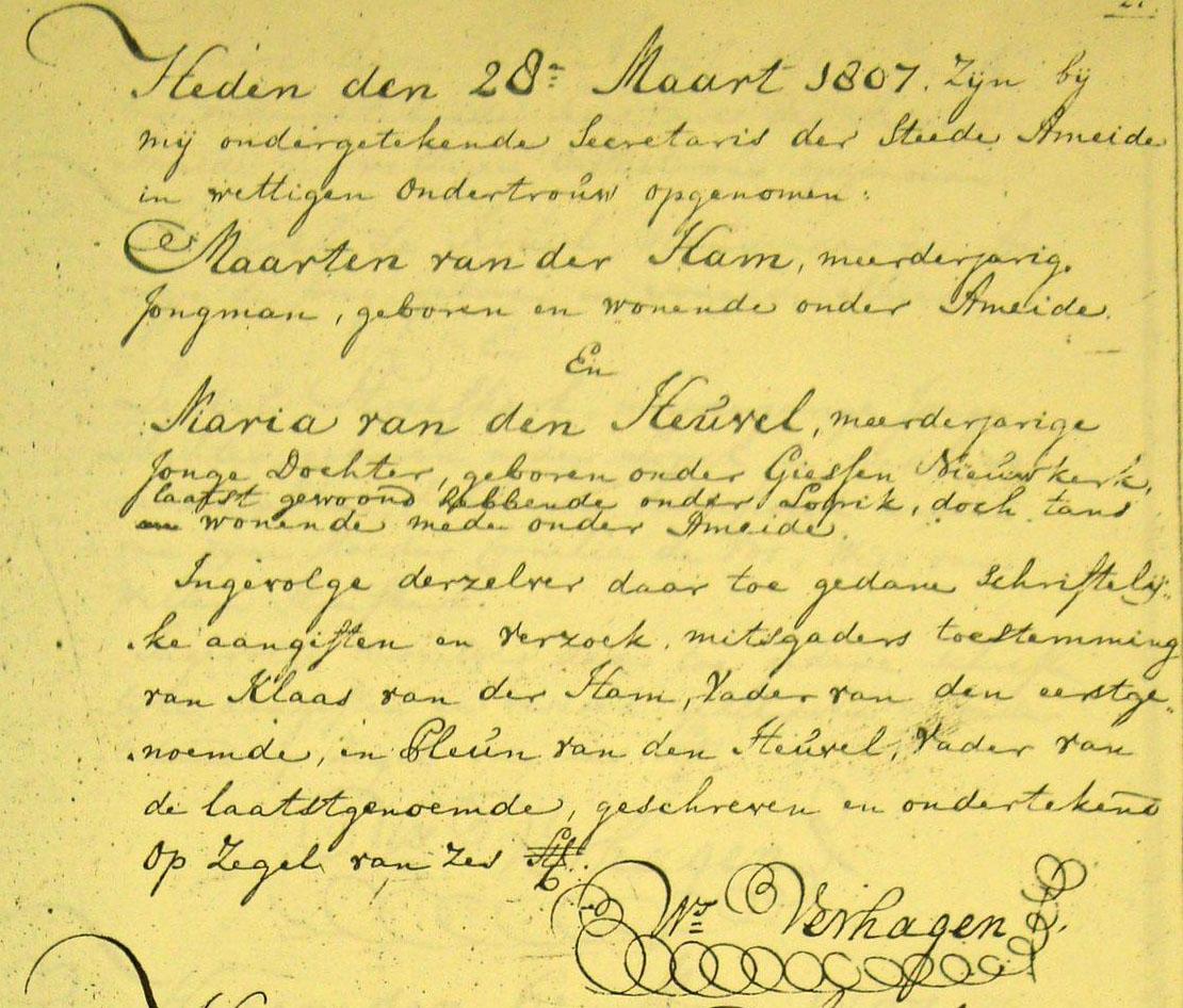 Ham-Meerten-Claes-vd-en-Maria-vd-Heuvel-Huwelijksakte-16-04-1807