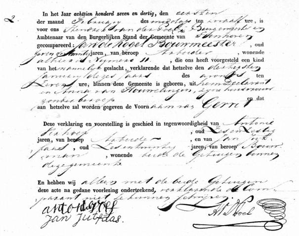 Kogel-Bouwmeester-Gerrit-de-Geboorteakte-30-01-1837-Tienhoven