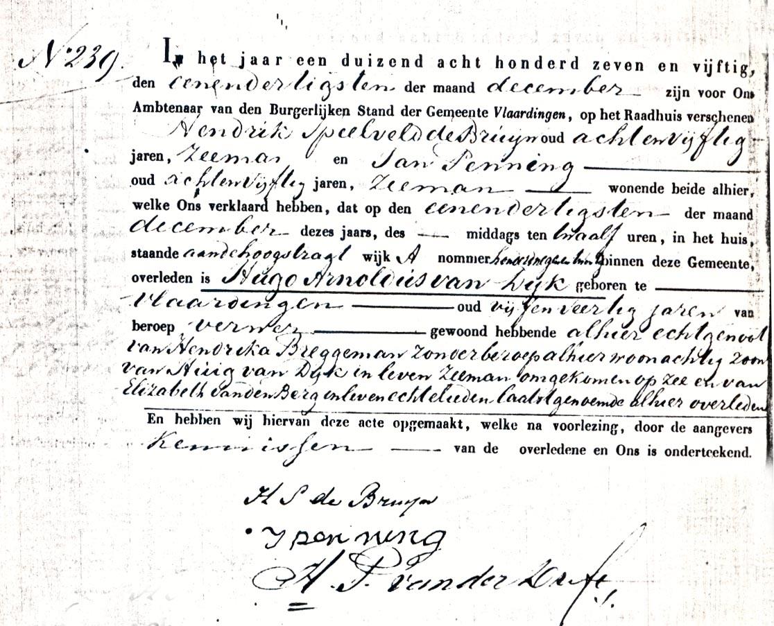 Dijk-Hugo-Arnoldus-Overlijdensakte-31-12-1857-Vlaardingen