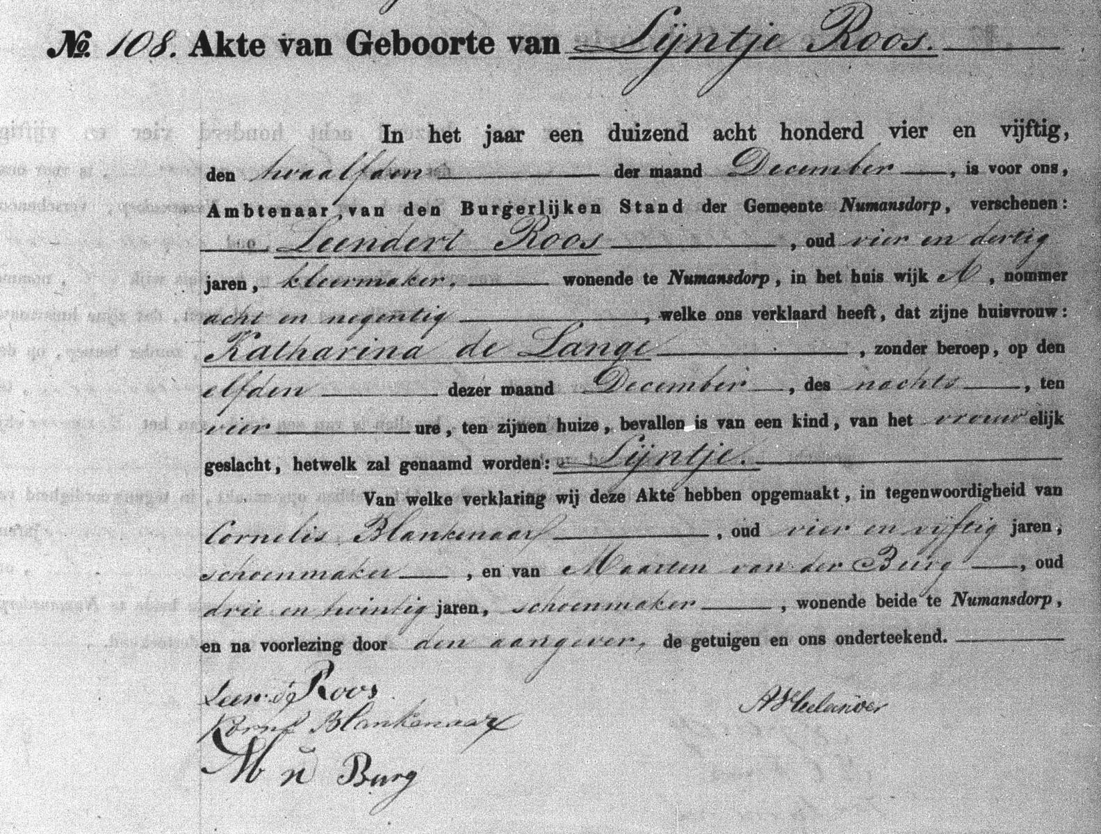 Roos-Lijntje-Geboorteakte-11-12-1854-Numansdorp