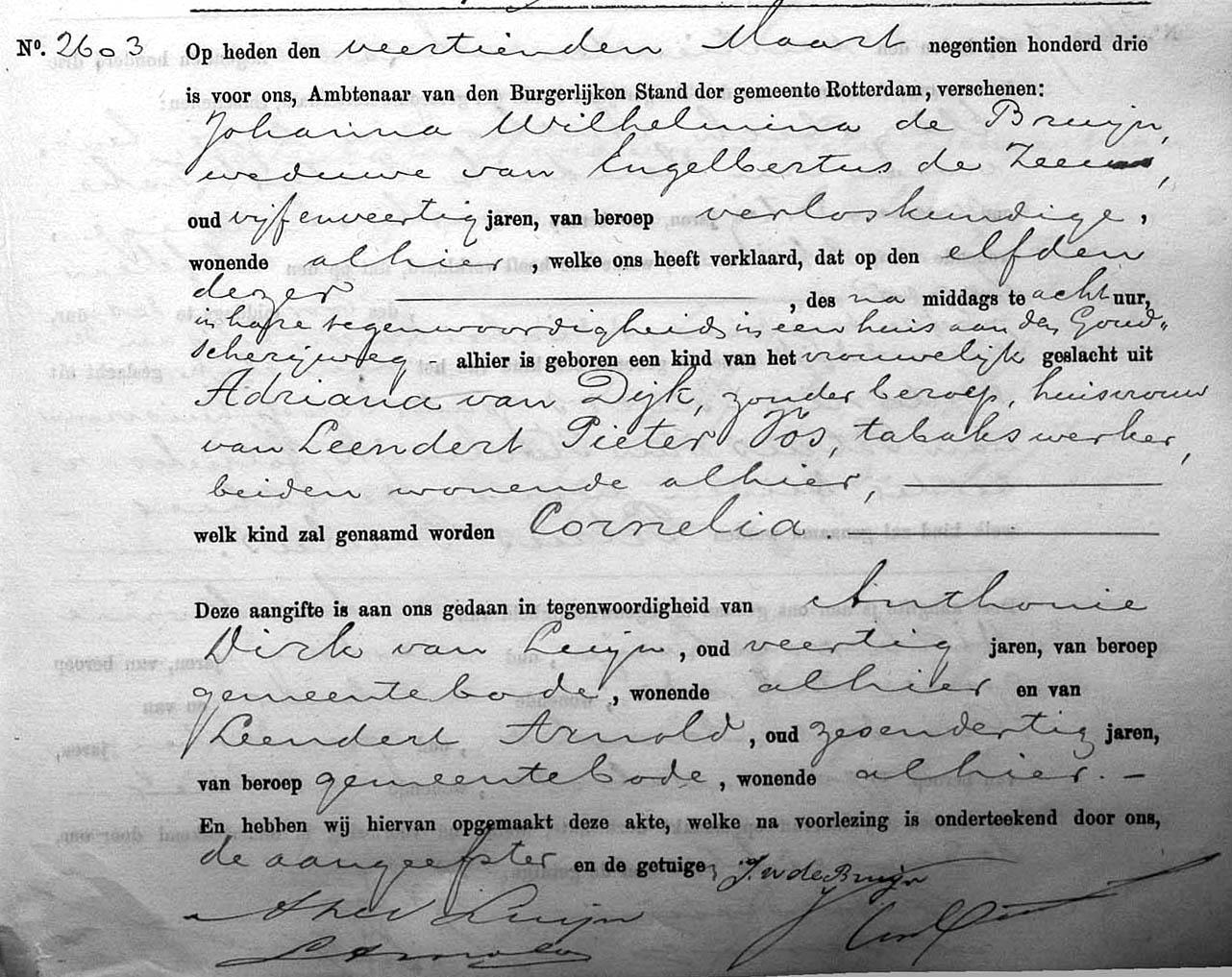 Vos-Cornelia-Geboorteakte-11-03-1903-Rotterdam