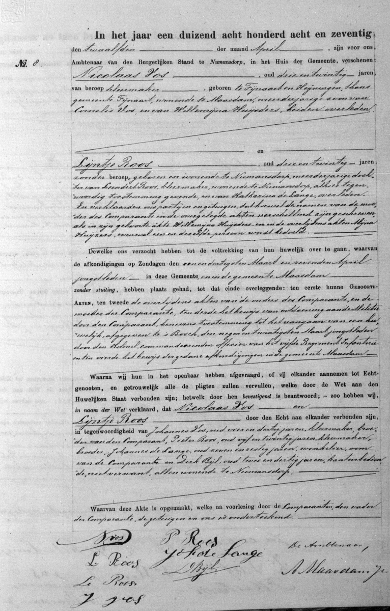 Vos-Nicolaas-en-Roos-Lijntje-Huwelijksakte-12-04-1878-Numansdorp