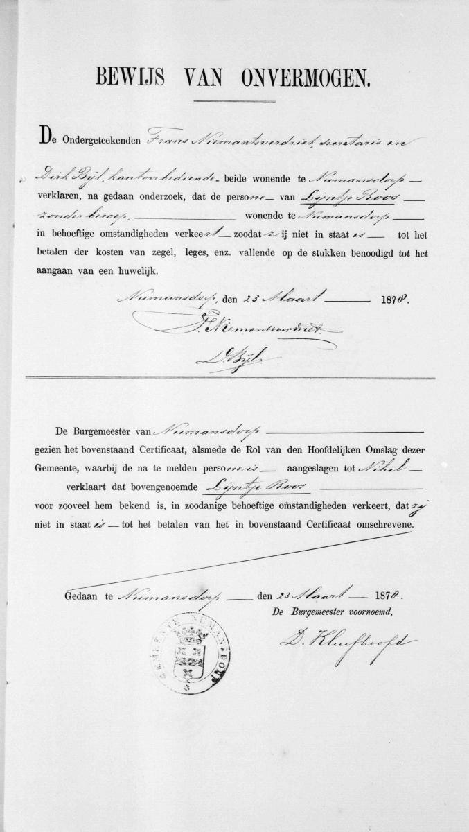 Vos-Nicolaas-en-Roos-Lijntje-Huwelijksbijlage-12-04-1878-Bewijs-van-onvermogen-Roos