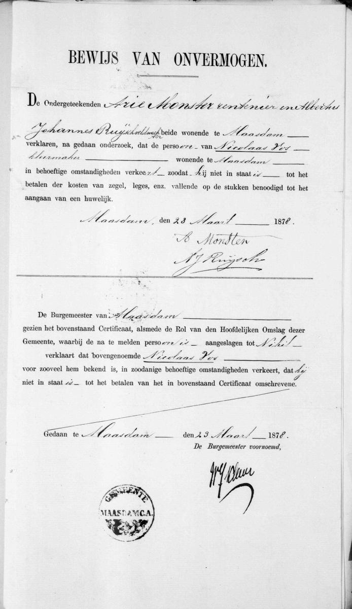 Vos-Nicolaas-en-Roos-Lijntje-Huwelijksbijlage-12-04-1878-Bewijs-van-onvermogen-Vos