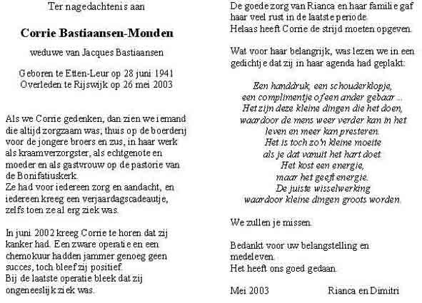 Monden-Bastiaansen-Corrie-Bidprentje