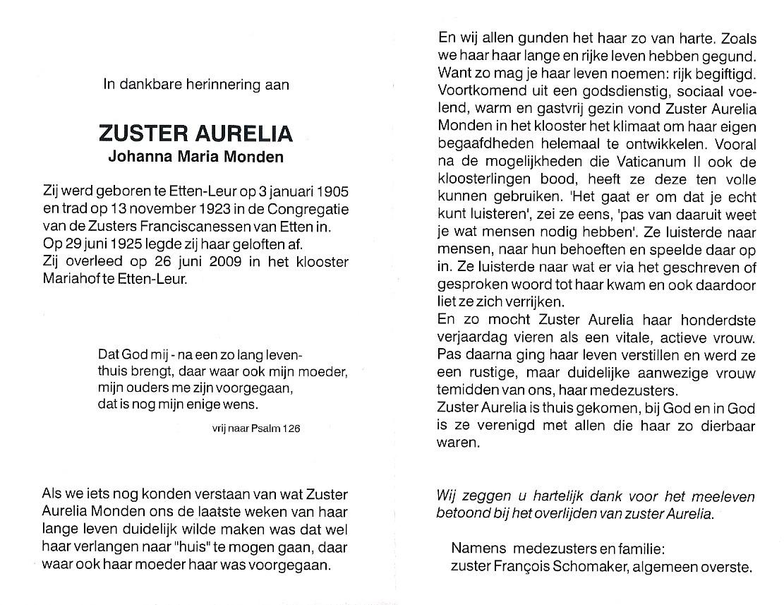 Monden-Johanna-Maria-Zuster-Aurelia-Bidprentje-tekst